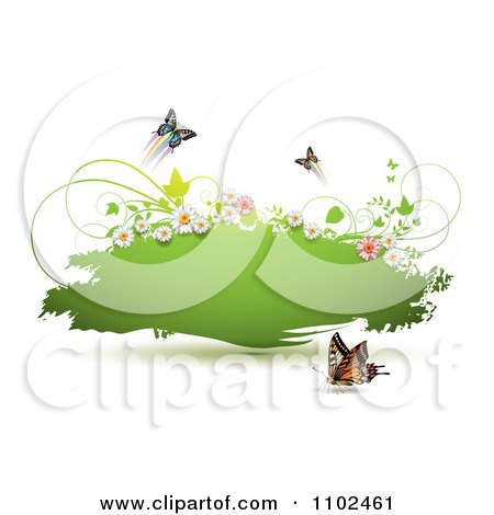 Clipart Butterfly And Floral Green Grunge Banner - Royalty Free Vector Illustration by merlinul