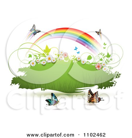Clipart Butterfly And Rainbow Green Grunge Banner 1 - Royalty Free Vector Illustration by merlinul