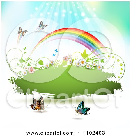 Clipart Butterfly And Rainbow Green Grunge Banner 2 - Royalty Free Vector Illustration by merlinul