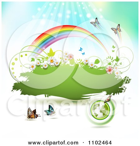 Clipart Butterfly And Rainbow Green Grunge Banner 3 - Royalty Free Vector Illustration by merlinul