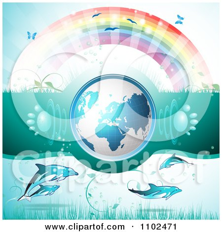 Clipart 3d Blue Globe With Paw Print Sound Waves Under A Rainbow With Dolphins - Royalty Free Vector Illustration by merlinul