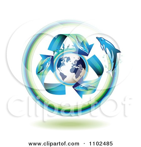 Clipart Dolphin Arrows Around A Globe - Royalty Free Vector Illustration by merlinul