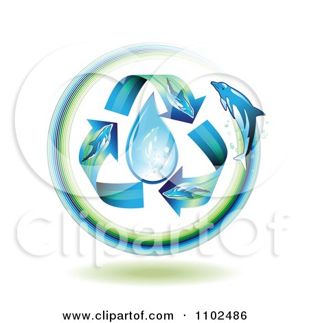 Clipart Dolphin Arrows Around A Water Drop - Royalty Free Vector Illustration by merlinul