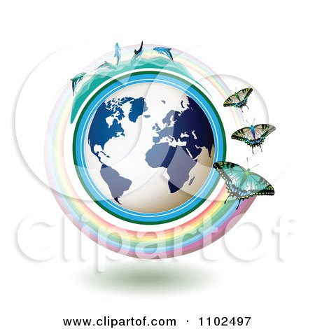 Clipart Butterflies With Rainbows Over A Blue Globe With Dolphins On Top 2 - Royalty Free Vector Illustration by merlinul