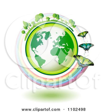 Clipart Butterflies With A Rainbow Around A Green Globe With Tress Horses And Homes On Top - Royalty Free Vector Illustration by merlinul