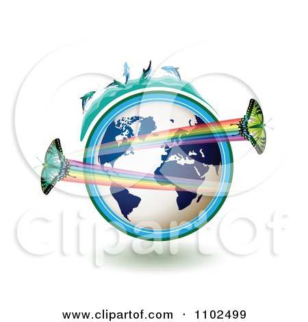 Clipart Butterflies With Rainbows Over A Blue Globe With Dolphins On Top 1 - Royalty Free Vector Illustration by merlinul