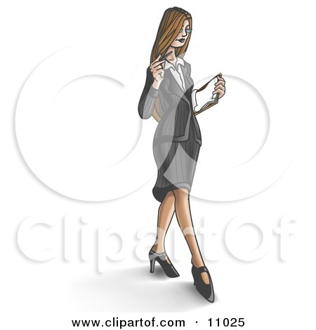 Young Businesswoman Looking Down at Paperwork While Walking Posters, Art Prints