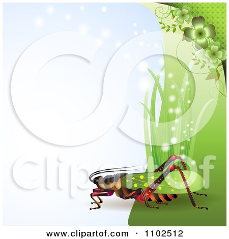 Clipart Locust Cricket Or Grasshopper With Grass And Clovers On Blue - Royalty Free Vector Illustration by merlinul