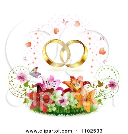 Clipart Wedding Bands Over Butterflies Hearts Lilies Blossoms And Shamrocks - Royalty Free Vector Illustration by merlinul