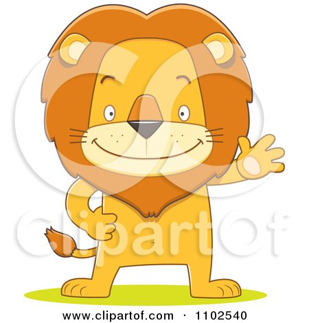 Clipart Happy Lion Waving And Standing Upright - Royalty Free Vector Illustration by Qiun