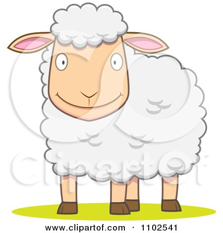 Clipart Happy White Sheep Smiling - Royalty Free Vector Illustration by Qiun