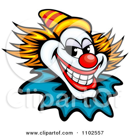 Clipart Grinning Evil Clown Or Joker With A Yellow Hat - Royalty Free Vector Illustration by Vector Tradition SM