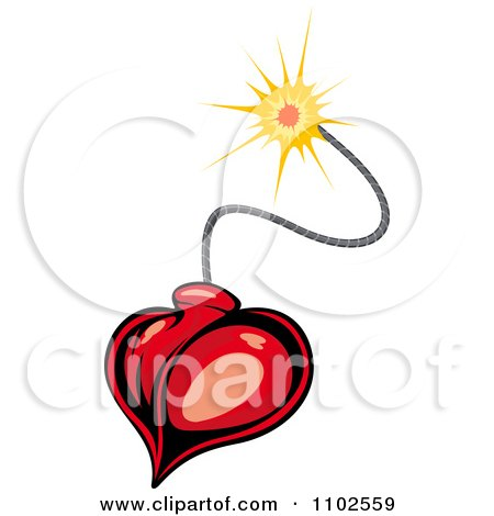 Clipart Heart Bomb And Lit Fuse - Royalty Free Vector Illustration by Vector Tradition SM