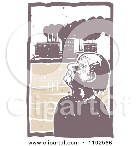 Clipart Blind Man Tilting His Head Back And Unaware Of Factory Pollution In The Background - Royalty Free Vector Illustration by xunantunich