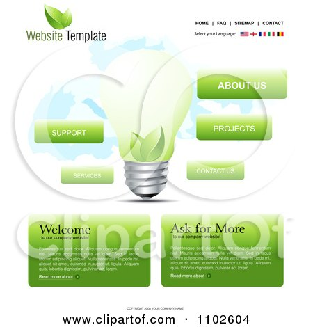 Clipart Website Home Page Interface Template With A Green Energy Light ...