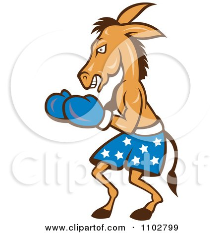 Clipart Democratic Donkey Boxer With Blue Star Shorts - Royalty Free Vector Illustration by patrimonio