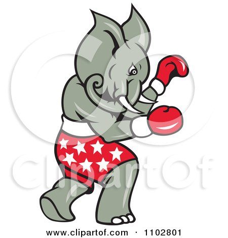 Clipart Republican Elephant Boxer With Star Shorts - Royalty Free Vector Illustration by patrimonio
