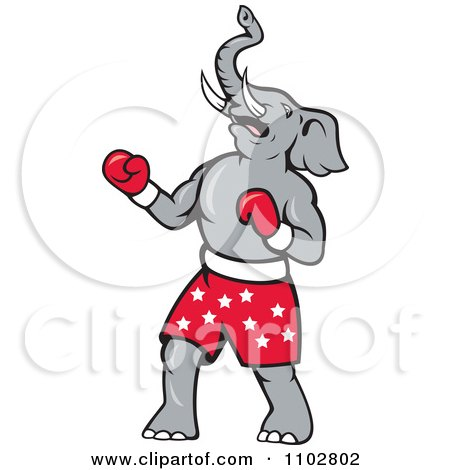 Clipart Republican Elephant Boxer With Starry Shorts - Royalty Free Vector Illustration by patrimonio