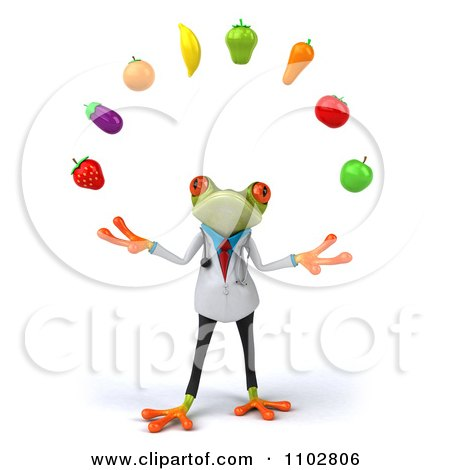 Clipart 3d Doctor Springer Frog Juggling Produce 1 - Royalty Free CGI Illustration by Julos
