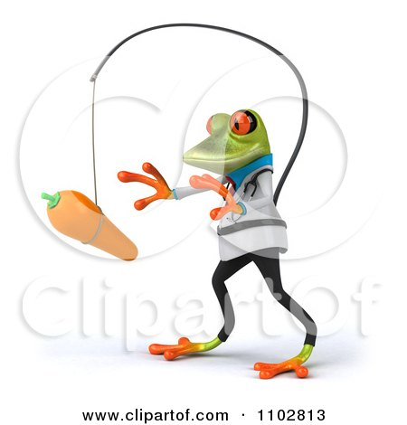 Clipart 3d Doctor Springer Frog Chasing A Carrot On A Stick 2 - Royalty Free CGI Illustration by Julos