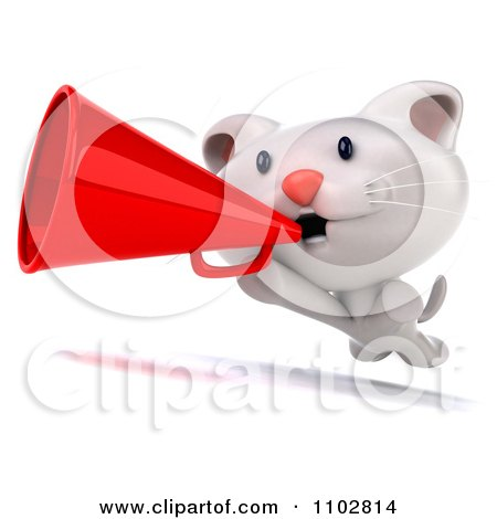 Clipart 3d Cute Happy White Kitten Running With A Megaphone - Royalty Free CGI Illustration by Julos