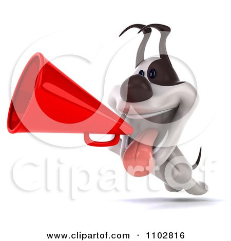 Clipart 3d Jack Russell Terrier Dog Running With A Megaphone - Royalty Free CGI Illustration by Julos