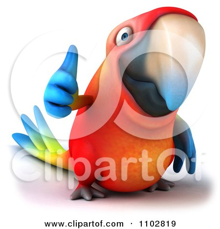 Clipart 3d Macaw Parrot Holding A Thumb Up 1 - Royalty Free CGI Illustration by Julos