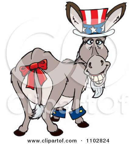 Clipart Patriotic Uncle Sam Independence Day Or Tax Time Donkey Looking Back - Royalty Free Vector Illustration by Dennis Holmes Designs