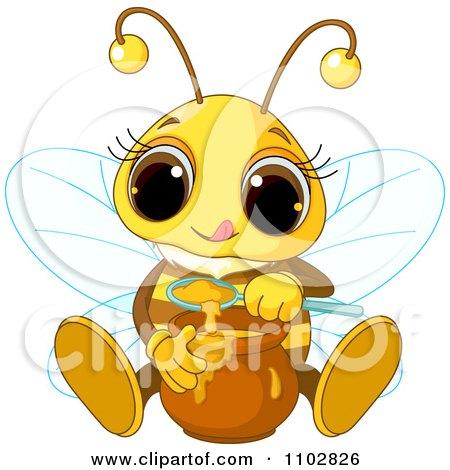 Clipart Cute Bee Tasting Honey - Royalty Free Vector Illustration by Pushkin
