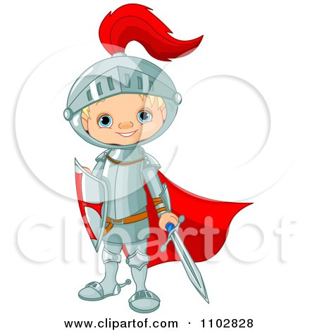 Clipart Happy Knight Boy With A Red Cape Sword And Shield - Royalty Free Vector Illustration by Pushkin