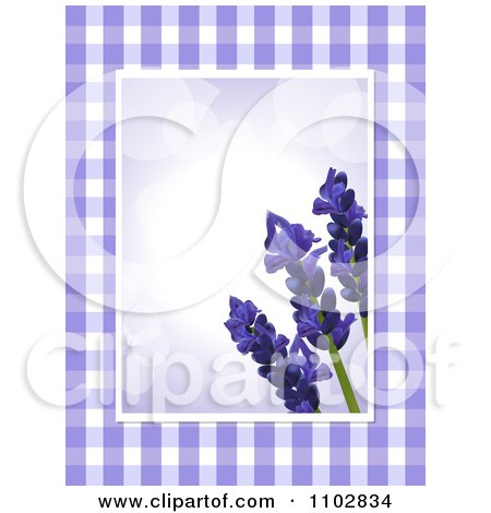 Clipart 3d Lavender Flowers Over Purple Flares With Gingham Edges - Royalty Free Vector Illustration by elaineitalia