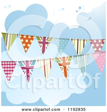 Clipart Patterned And UK Bunting Flags Against A Cloudy Sky - Royalty Free Vector Illustration by elaineitalia