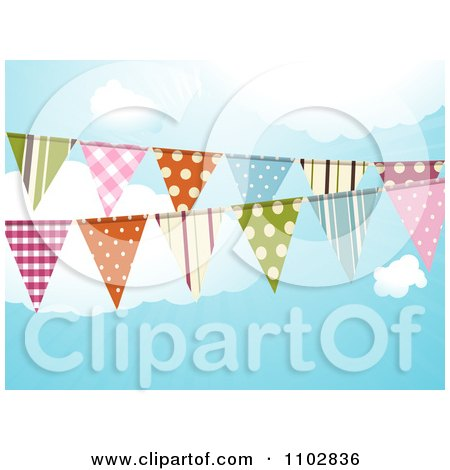 Clipart Patterned Bunting Flags Against A Cloudy Sky - Royalty Free Vector Illustration by elaineitalia