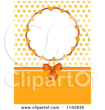 Clipart 3d Orange Bow With A Round Frame And Polka Dots - Royalty Free Vector Illustration by elaineitalia
