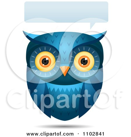 Clipart Talking Blue Owl With A Word Balloon - Royalty Free Vector Illustration by Qiun
