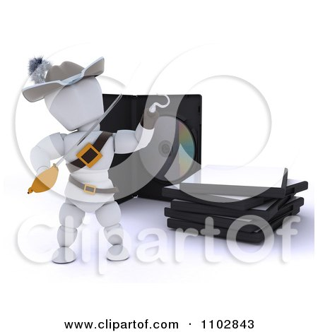Clipart 3d Movie Or Software White Character Pirate Presenting Illegal Bootleg Packaging - Royalty Free CGI Illustration by KJ Pargeter