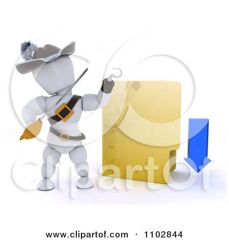 Clipart 3d Illegal Download White Character Pirate With A Folder - Royalty Free CGI Illustration by KJ Pargeter