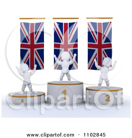 Clipart 3d Champion White Characters On First Place And Runner Up Podiums Under British Flags - Royalty Free CGI Illustration by KJ Pargeter
