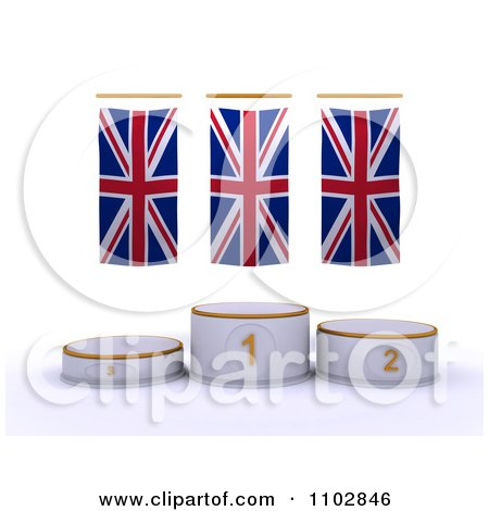 Clipart 3d Champion First Place And Runner Up Podiums Under British Flags - Royalty Free CGI Illustration by KJ Pargeter