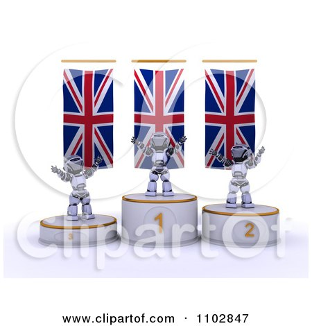 Clipart 3d Champion Robots On First Place And Runner Up Podiums Under British Flags - Royalty Free CGI Illustration by KJ Pargeter