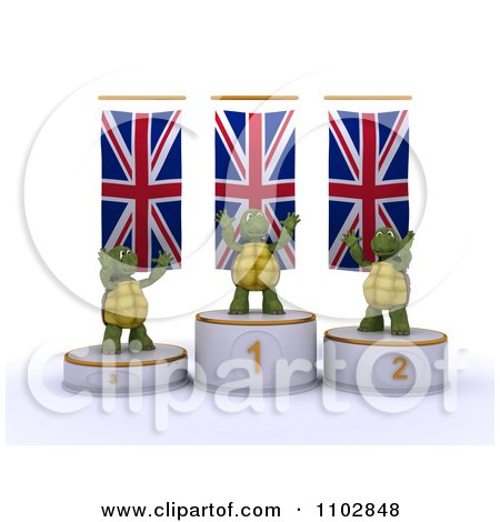 Clipart 3d Champion Tortoises On First Place And Runner Up Podiums Under British Flags - Royalty Free CGI Illustration by KJ Pargeter