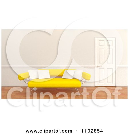 Clipart 3d Yellow Modern Sofa With White Pillows By A Closed Door - Royalty Free CGI Illustration by KJ Pargeter