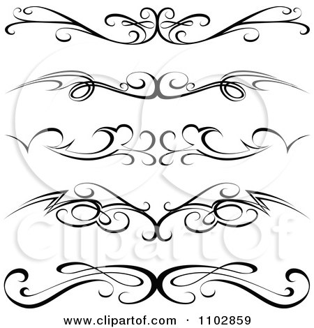 Clipart Black Tribal Tramp Stamp Tattoos Or Rule Border Design Elements - Royalty Free Vector Illustration by dero