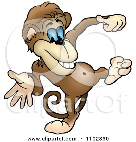 Clipart Happy Monkey Dancing - Royalty Free Vector Illustration by dero