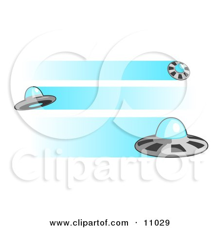 Three Flying UFOs Clipart Illustration by Leo Blanchette