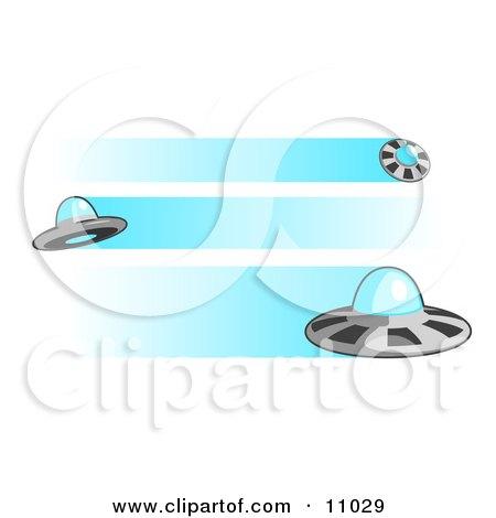 Three Flying UFOs Clipart Illustration