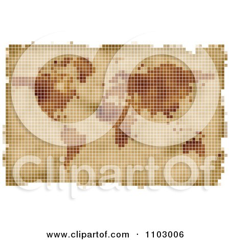 Clipart Grungy Blurred Pixelated Parchment World Atlas Map - Royalty Free Vector Illustration by Andrei Marincas