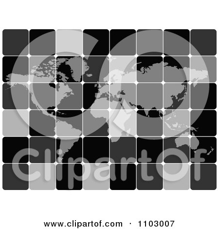 Clipart Grayscale Tiled World Atlas Map - Royalty Free Vector Illustration by Andrei Marincas