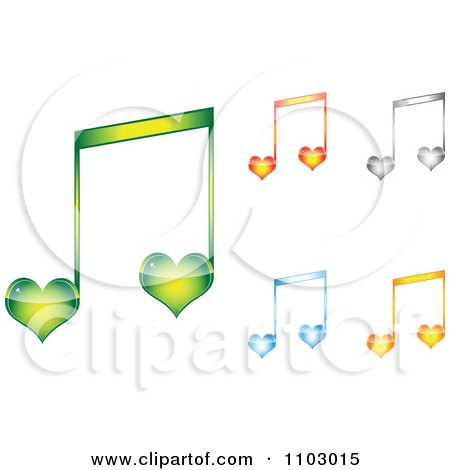 Clipart Colorful Heart Love Music Notes - Royalty Free Vector Illustration by Andrei Marincas