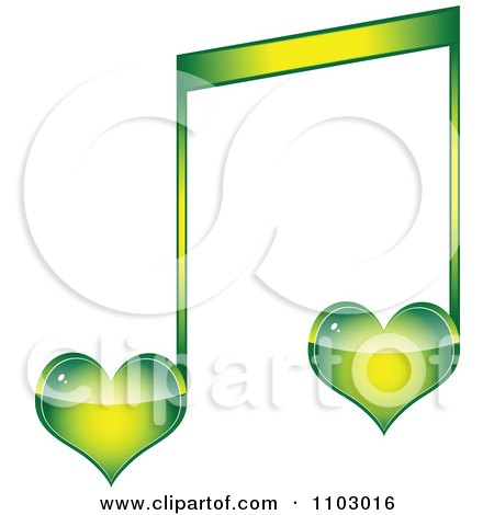 Clipart Two Green Heart Love Music Notes - Royalty Free Vector Illustration by Andrei Marincas